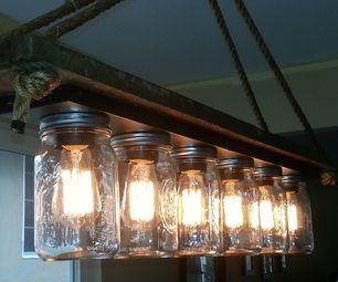 Instructable - mason jar light fixture