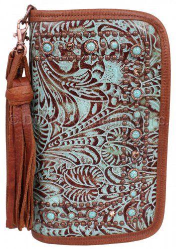 Double J Saddlery Turquoise/Brandy Floral Clutch Organizer