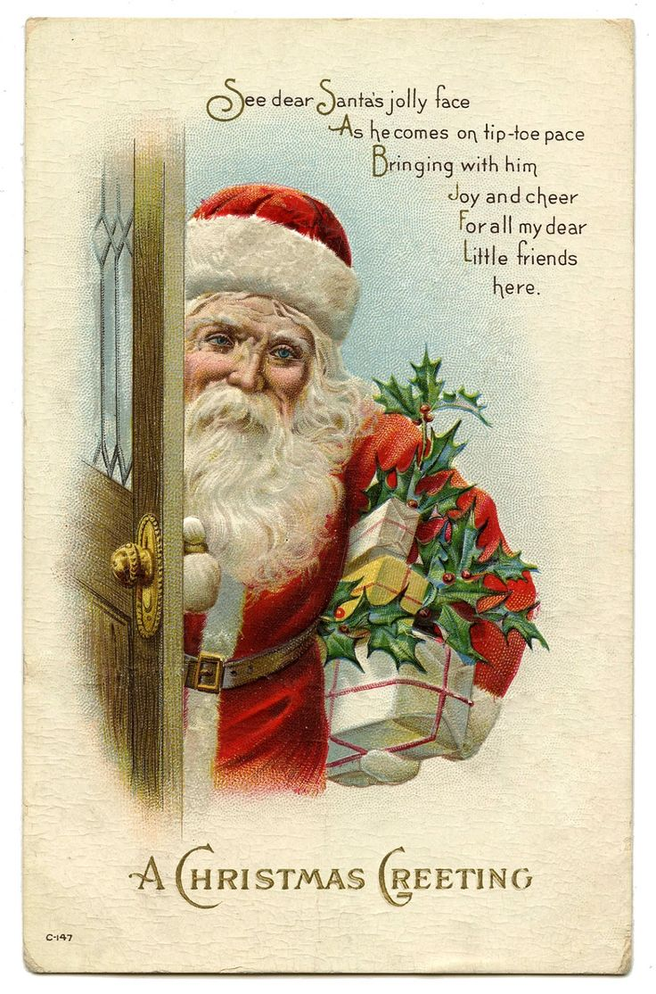 Vintage Christmas Image - Santa at Door - The Graphics Fairy