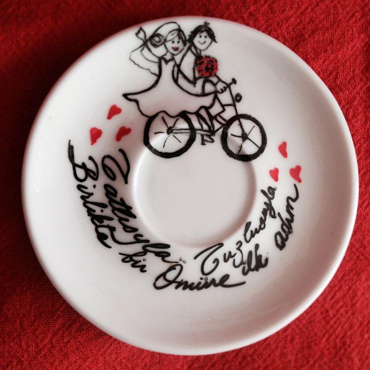 Tasarladığım damat fincanı tabağı