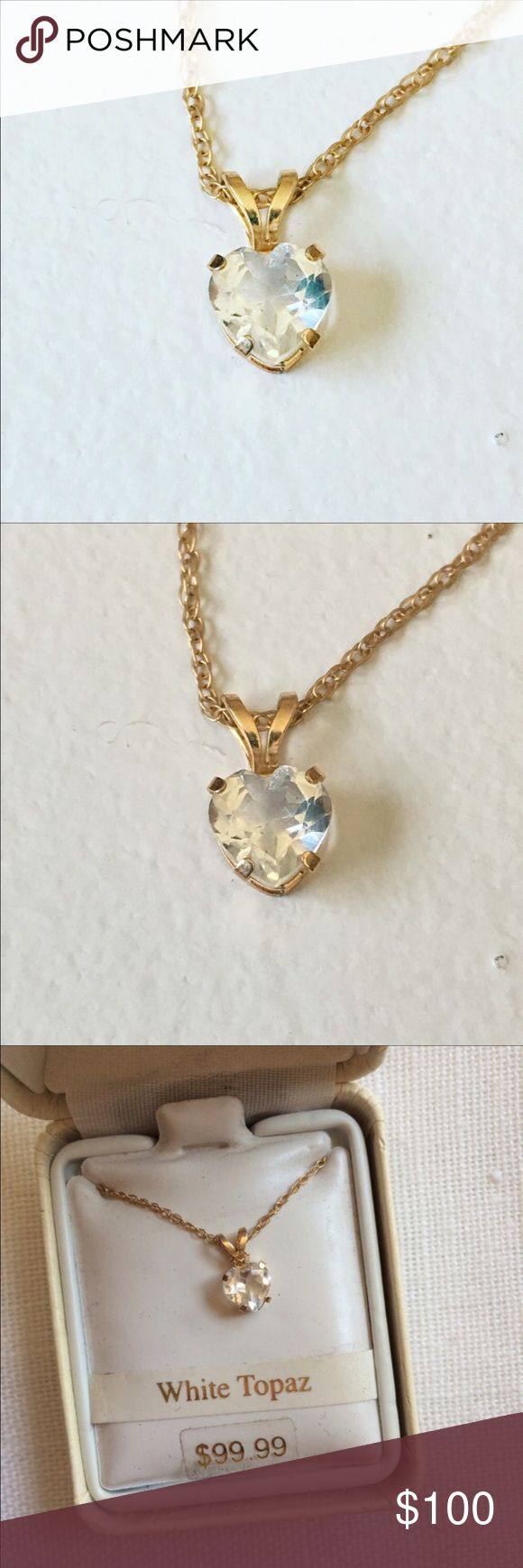 "NWT 10K Gold Filled White Topaz Necklace Heart Brand new in box. 18"" chain. 10K gold filled. White topaz heart-shaped pendant. Jewelry Necklaces"