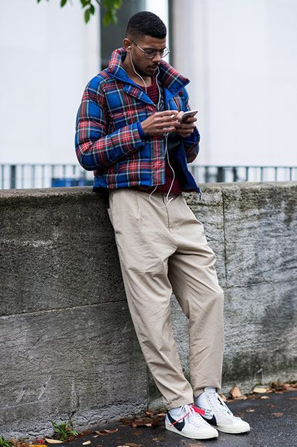 0718028c4341 PFW SS18 Street Style featuring a street styler in a tartan puffer jacket,  burgundy jumper, camel trousers and Off-White x Nike Blazers | ASOS Style  Feed