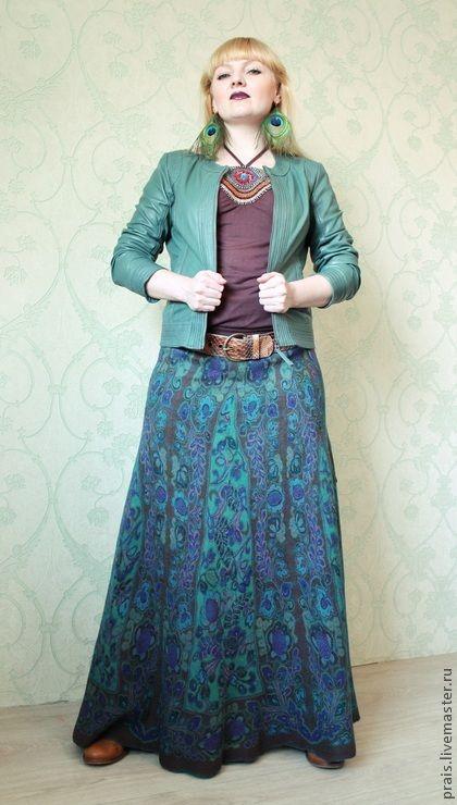 "Юбки ручной работы. Ярмарка Мастеров - ручная работа Авторская валяная юбка ""Emerald spring"". Handmade."