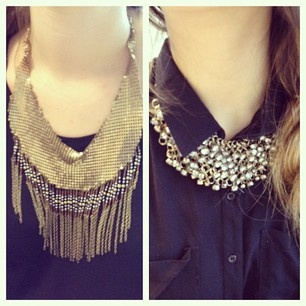 Black + statement necklaces in the office today. #officestyle #threadsence #fashionThe Office