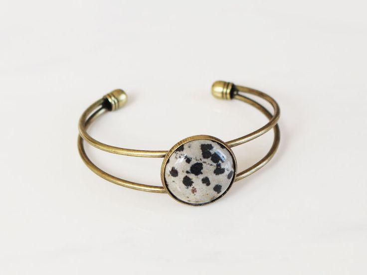 14.90$ - Gemstone Bangle - Dalmatian Jasper  #pin #jewelry #ring #safety pin #fastener #jewel #metal #close #shiny #gold #fashion #gem #object #gift #silver #luxury #decoration #stone #restraint #wedding #jewellery #diamond #closeup #golden #love #food #engagement #glass #jewelery #precious #style #accessory #marriage #black #hair slide #wealth #strainer #gemstone #whistle #celebration