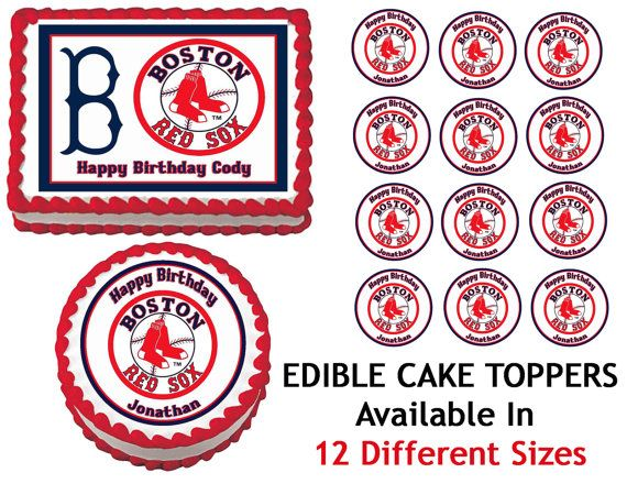 BOSTON RED SOX Edible Cake Image Cupcake Topper Quarter Half 12 Sheets Sizes Available on Etsy, $8.25