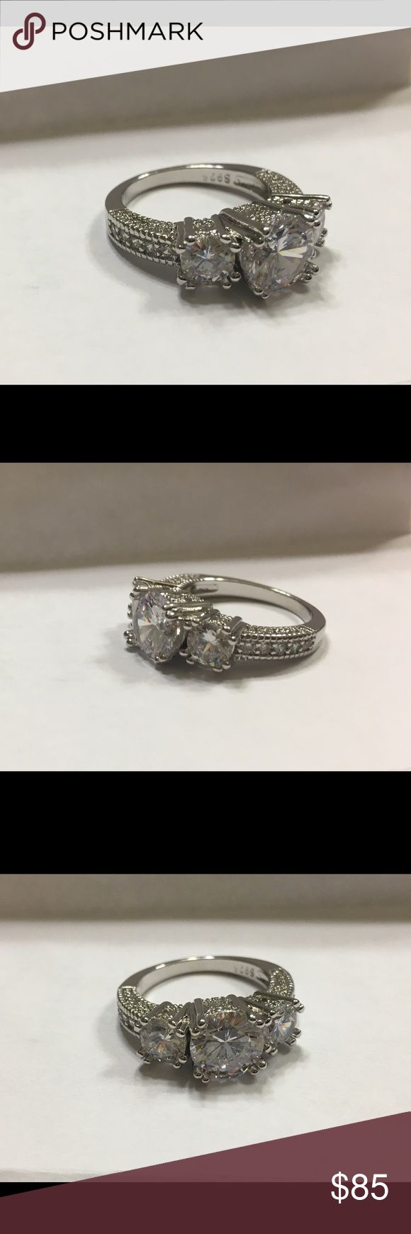 Engagement ring Austrian Crystal engagement ring in size 6 Sterling silver setting Jewelry Rings
