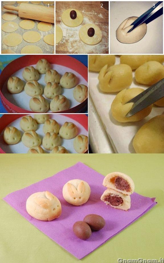 Coniglietti di pasta frolla con ovetti di cioccolata