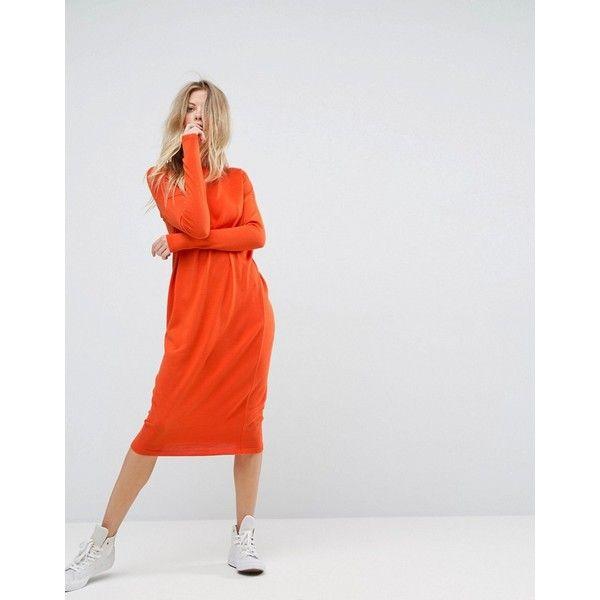 ASOS Midi Dress With Crew Neck (2.115 RUB) via Polyvore featuring dresses, orange, long sleeve midi dress, night out dresses, midi party dresses, orange party dresses и long sleeve party dresses