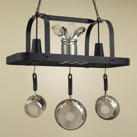 Lighted Hanging Pot Racks Kitchen