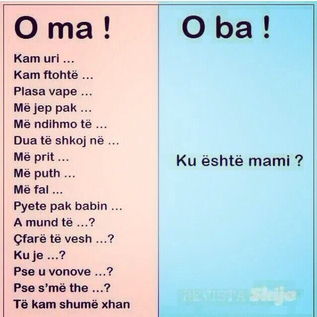 O Ma or O Ba! The difference between mom and dad in the Albanian family.