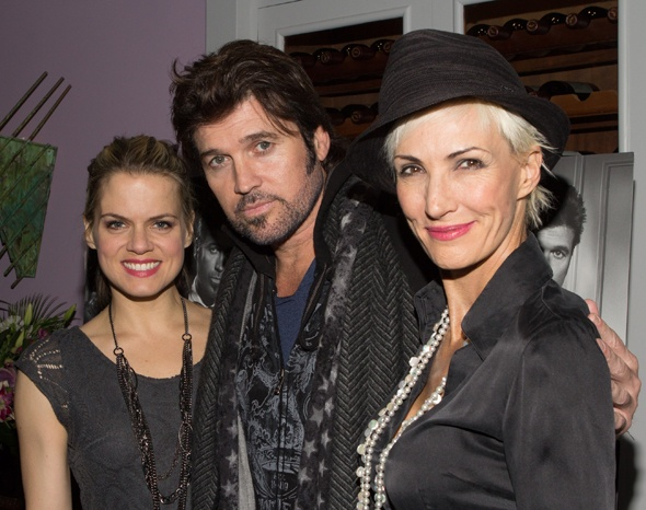 Amy Spanger and Amra-Faye Wright welcome new co-star Billy Ray Cyrus to the cast of Broadway's Chicago on November 5.(© Tristan Fuge)