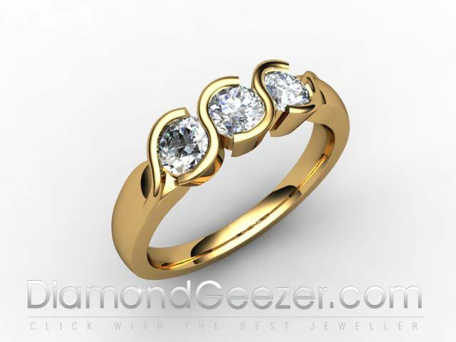 Trilogy Ring 18ct Hallmarked Yellow Gold 3 Stone Diamond Ring I.D. 01-1833-1011