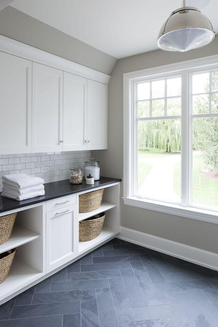 modern farmhouse grey slate flooring herringbone pattern