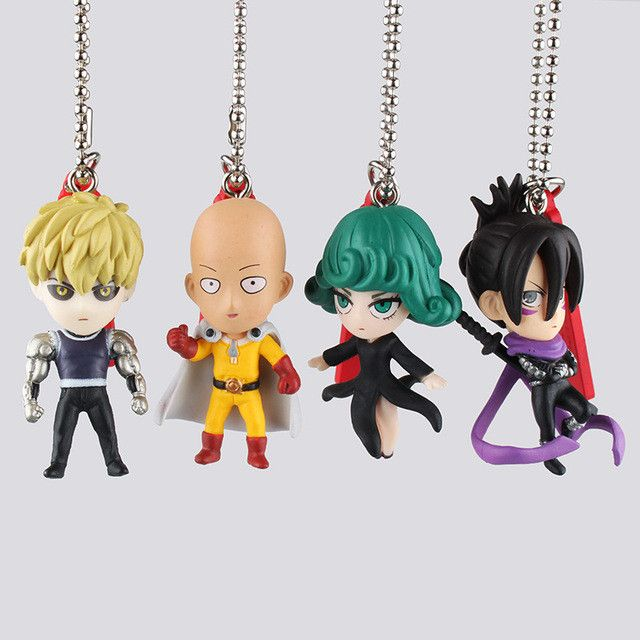One Punch Man Anime KeyChains 4pc