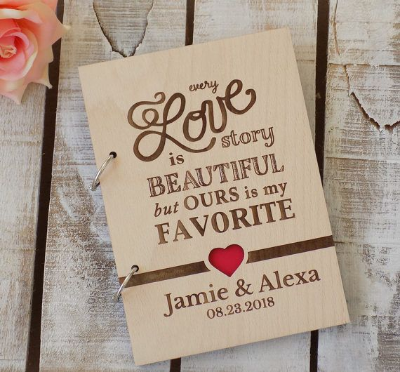 Love Story Wedding Guest Book Custom Wood Wedding Guest Book