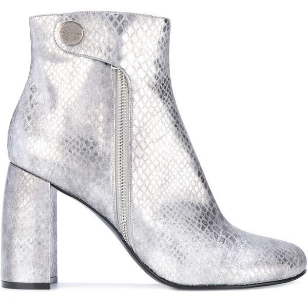 Stella McCartney metallic Alter Snakes Skin ankle boots (€585) ❤ liked on Polyvore featuring shoes, boots, ankle booties, grey, grey ankle boots, block heel ankle boots, metallic ankle boots, grey booties and gray ankle boots