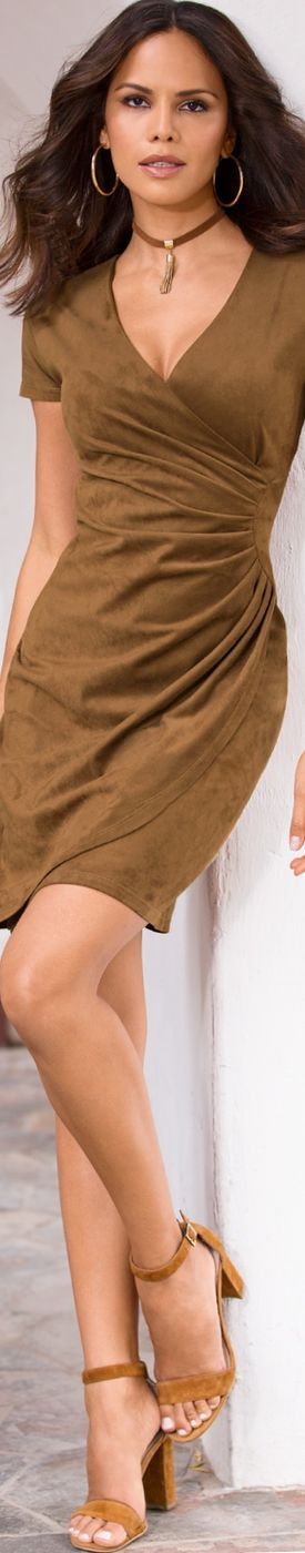 Boston Proper Faux Suede Ruched Dress