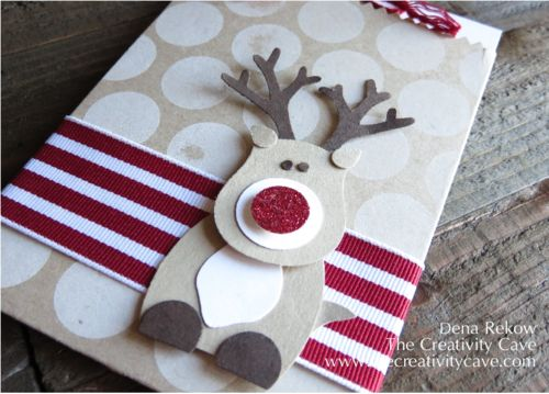 Cute Christmas reindeer gift card holder using treat bag die & Stampin Up punches - owl, tree, beautiful bunch, & circles. Instructions, punch sheet & video in post