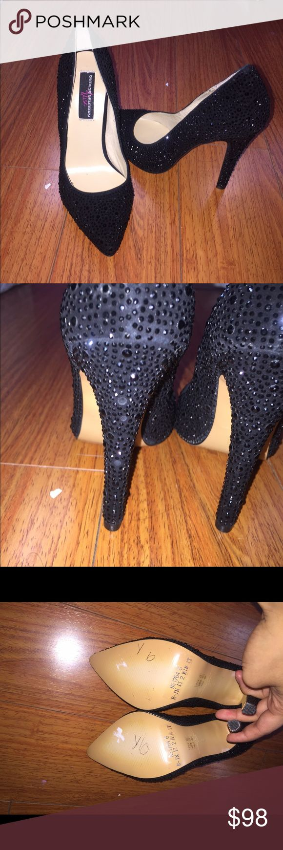 Black Rhinestone Heels BRAND NEW. Never been used. Has 3 rhinestones missing Chinese Laundry Shoes Heels