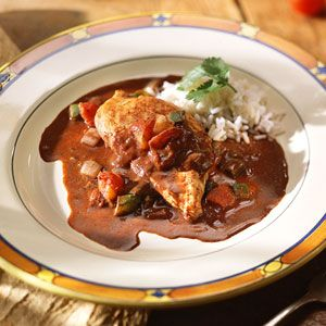 Mexican Chicken Mole | MyRecipes.com Ignore the silliness of microwaving it all and just cook it normally. Some reviews also did that and it worked out well.