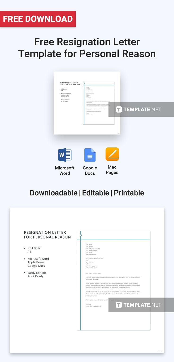 23++ Personal reason resignation letter format in word ideas in 2021