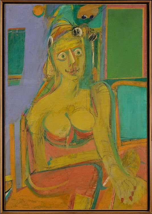 Woman  Willem de Kooning  (American (born The Netherlands), Rotterdam 1904–1997 East Hampton, New York)    Date:      1944  Medium:      Oil and charcoal on canvas  Dimensions:      H. 46, W. 32 in. (116.8 x 81.3 cm)   Classification:      Paintings  Credit Line:      From the Collection of Thomas B. Hess, Gift of the heirs of Thomas B. Hess, 1984