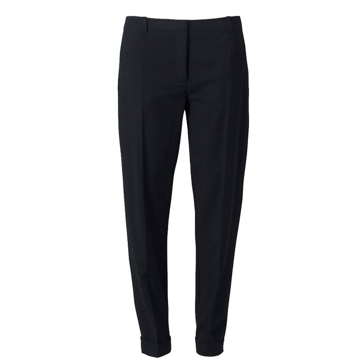 CHOOSE SLEEK DARK TROUSERS The key to pear-perfect trousers is to keep them simple, dark and tailored. You can't go wrong with sleek black trews. Look for a pair with a sharp crease that runs down the front of the leg, which will minimise thighs and make legs look long and lean. If trousers have side pockets, sew them up to reduce extra bulk. Closet at House of Fraser trousers, £35 prima.co.uk