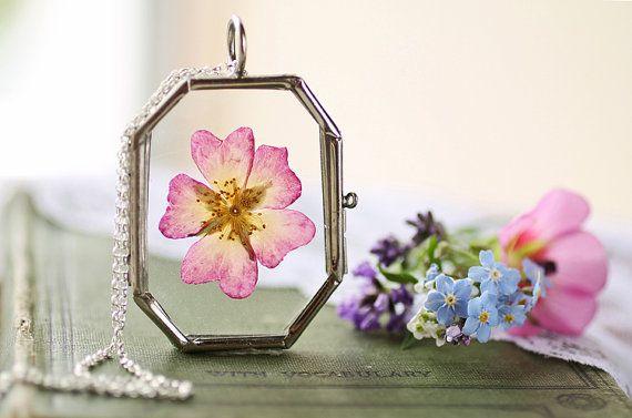 Wild dog rose locket pink rose necklace by RubyRobinBoutique
