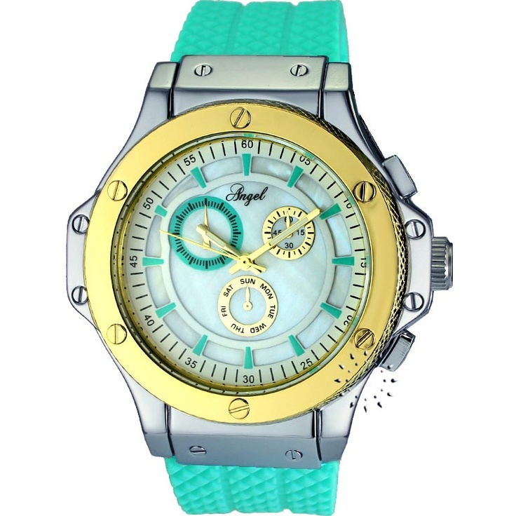 ANGEL Ladies Light Green Rubber Strap  64€  Αγοράστε το εδώ: http://www.oroloi.gr/product_info.php?products_id=30457