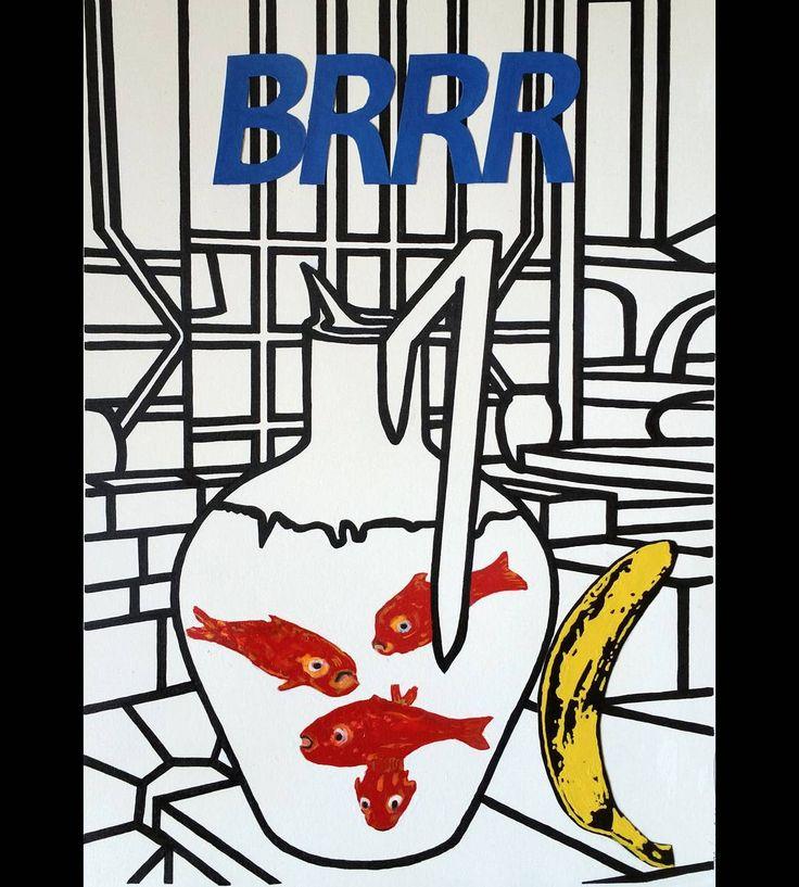 """Mi piace"": 0, commenti: 1 - massimo j. monaco (@massimo.j.monaco.artist) su Instagram: ""BRRR (Les poissons rouges  de Matisse series) 2017 cm 40×28 #acryliconpaper #collage #drawings…"""