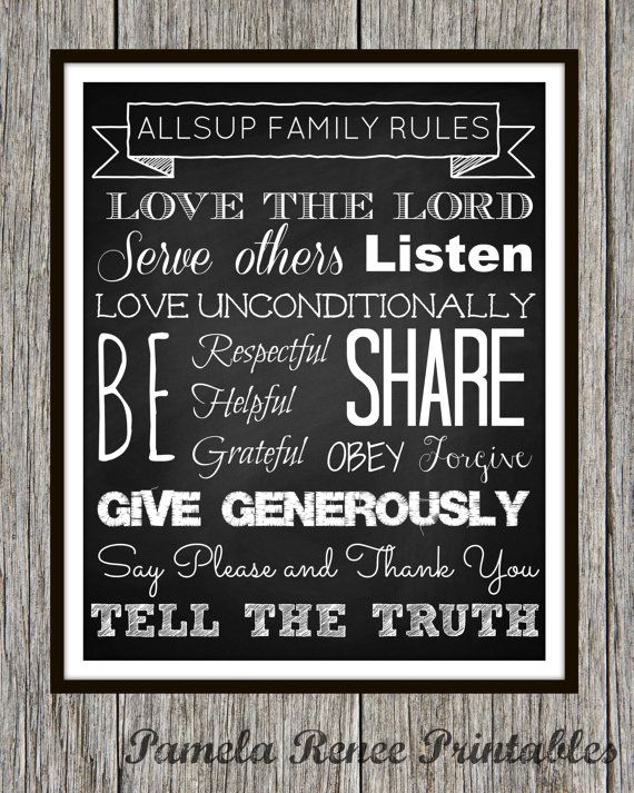 Printable Chalkboard Style Family Rules Wall Art