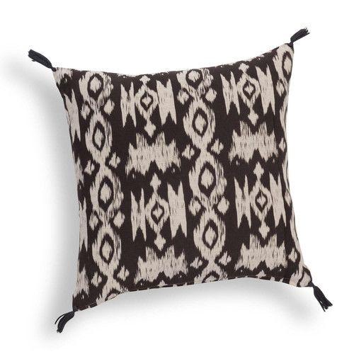 Housse de coussin en coton noire/beige NOMAD IKAT | Maisons du Monde