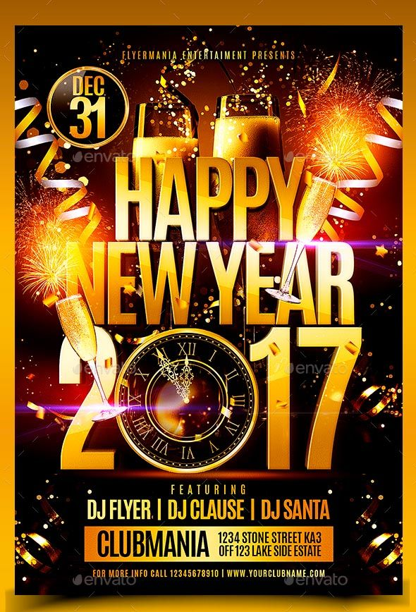 2017 happy new year flyer template