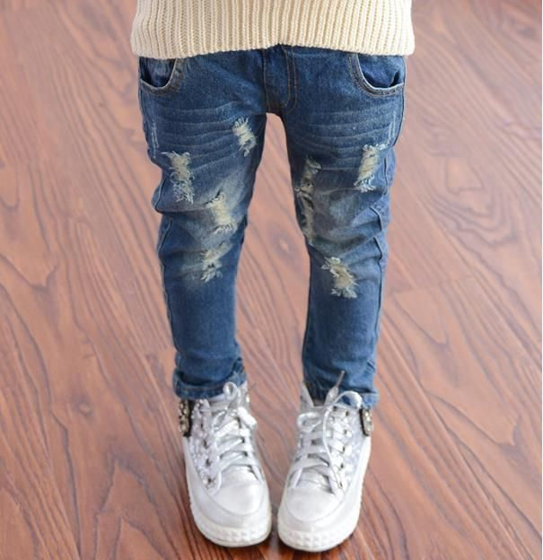 2016 Spring Autumn Baby Boys Girls Jeans Kids Broken Cool Washing Denim Pants Girls All Match Pants Children Clothes #Affiliate