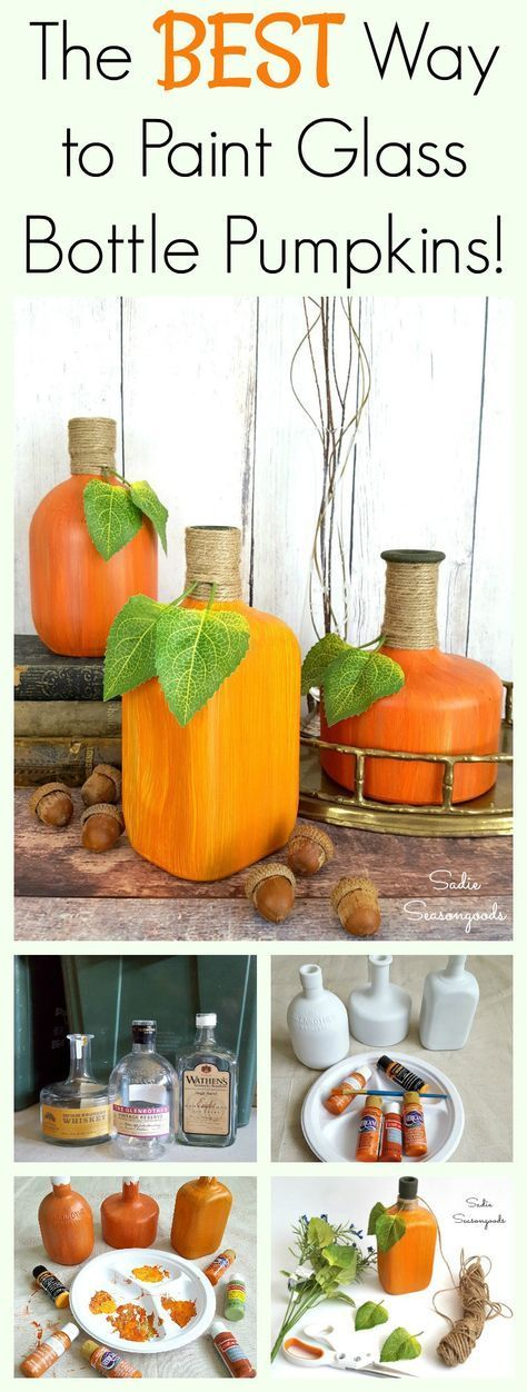 DIY Craft: I think I've figured out the very best way to recycle, repurpose, and upcycle your glass wine and liquor bottles for autumn decor! Painting them using this technique results in realistic striations of color, just like on actual pumpkins and gourds. They look fantastic as Fall and autumn decor, and it's really easy to do! Fun seasonal DIY craft project from Sadie Seasongoods / <a href=