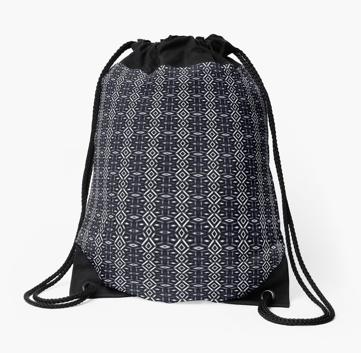 Meshed (Midnight) Drawstring Bag by Terrella.  A pattern of horizontal and vertical diamonds with links between the bars.  This is the midnight version. • Also buy this artwork on bags, apparel, phone cases, and more.