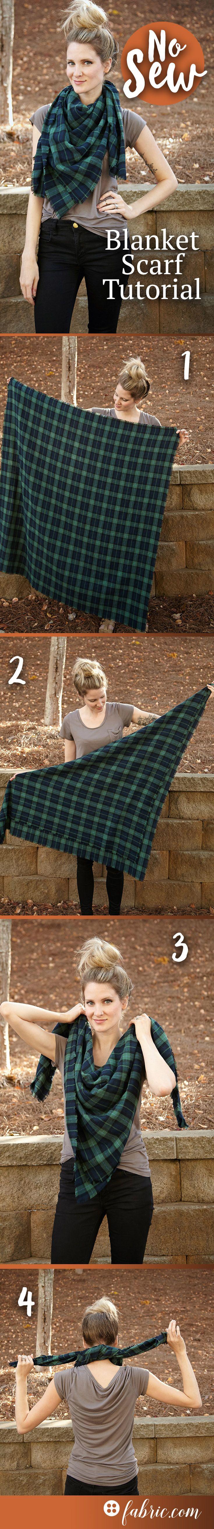 Create a no sew flannel blanket scarf for fall in a few simple steps! The full tutorial and our favorite fabrics for this project are on the blog