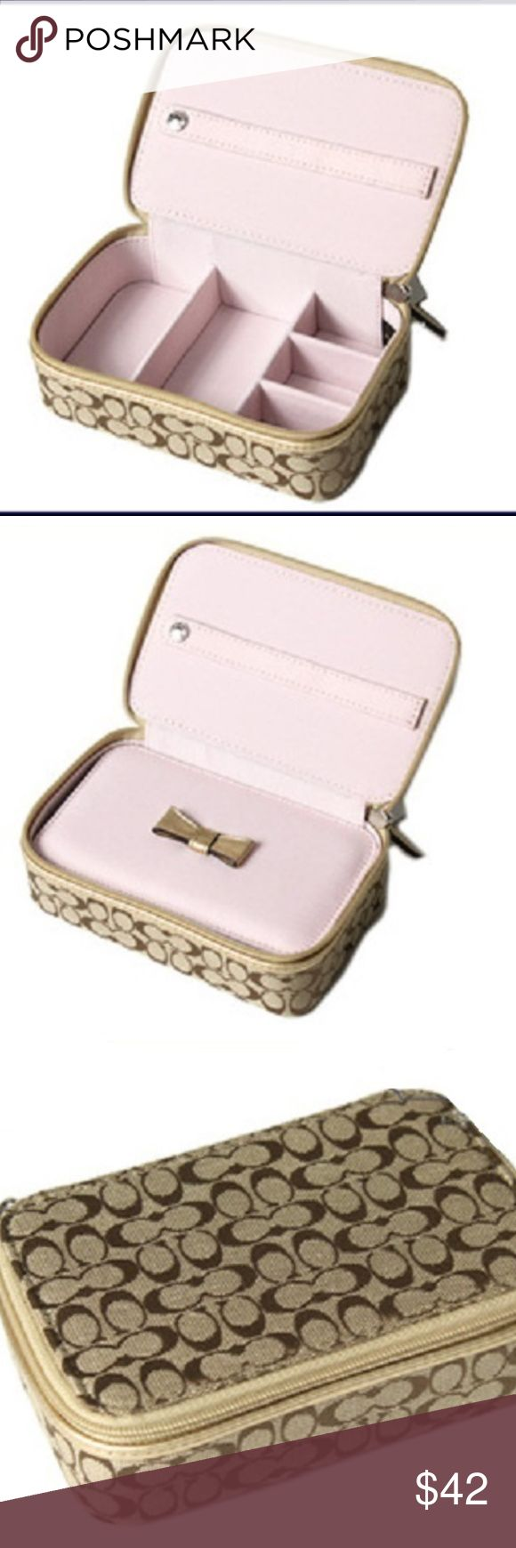 Coach Jewelry Case NWT Coach  Jewelry case A place for all your Jewelry: Earrings, Rings, Necklaces, & Bracelets Zipper coach jewelry box, comes with divider.  Retails for $98    New With Tags Coach Jewelry