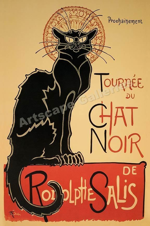 1896 Chat Noir Classic French Poster - 20x30 #Vintage