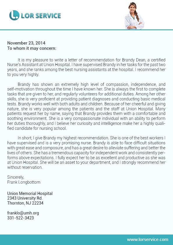 nursing school recommendation letter