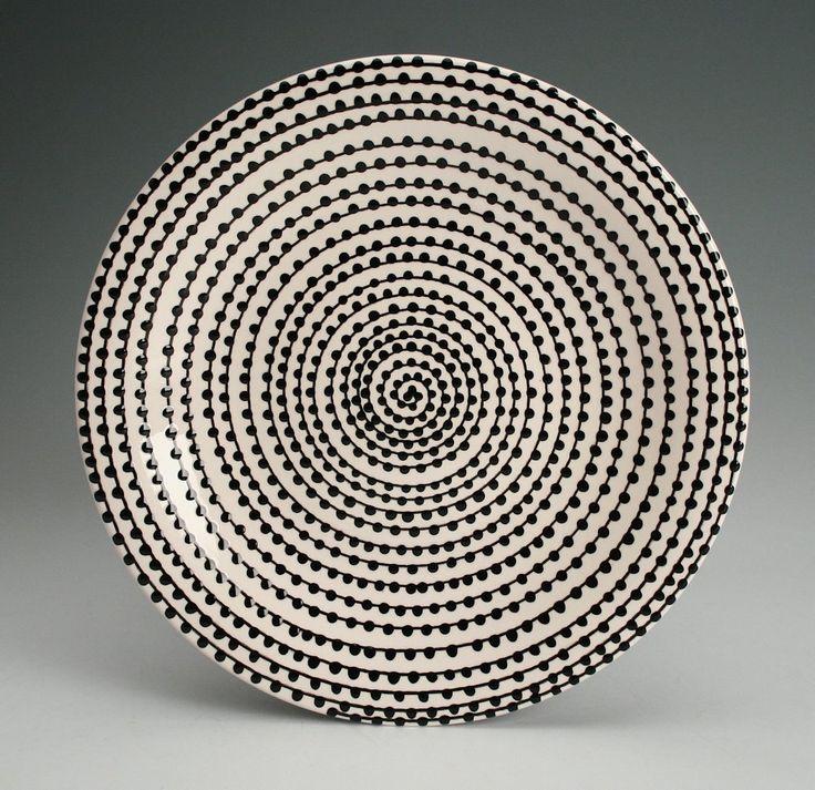 Spiral Vertigo Plate Hand Painted Jet Black Spiral with Black Dots. $20.00, via Etsy.