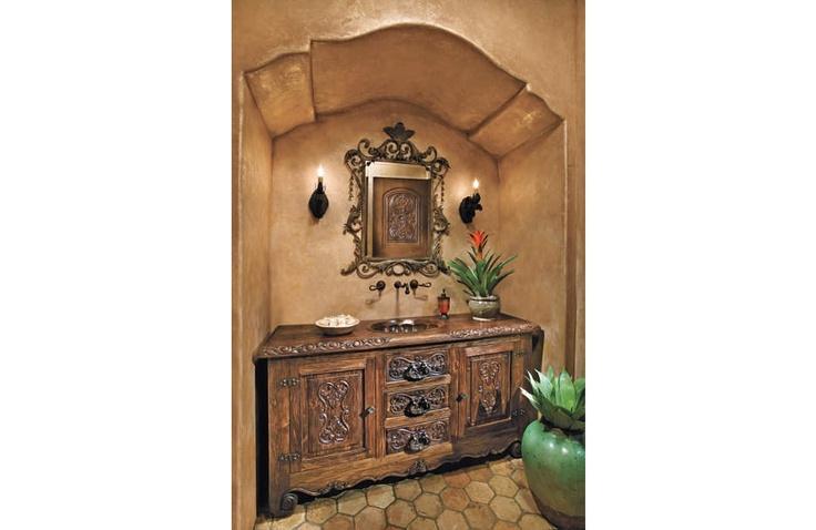 Spanish-Mediterranean brown bathroom