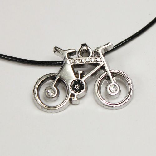 """Men's vintage style leather necklace with stainless steel """"bicycle"""" pendant with a little bling @ AUD$8.95 - comes in black organza pull string pouch"""