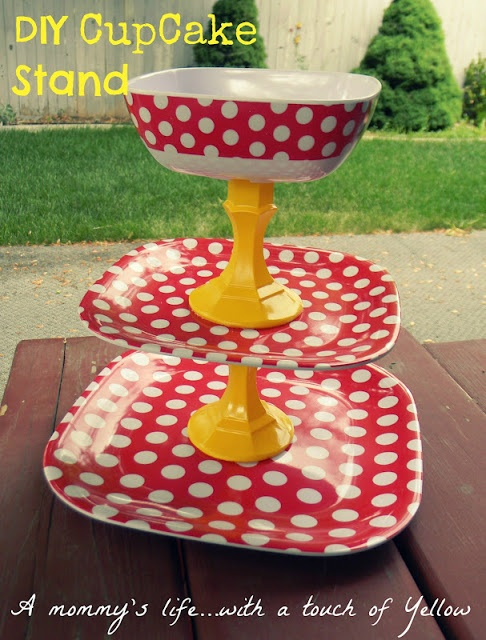 DIY Cupcake Stand or would be cute to use as a fruit/veggie tray with dip in the bowl.