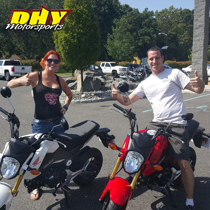 Congratulations to Patricia and Kevin from #Matawan on their purchase of these 2015 #Honda #Grom Enjoy turning heads as you tear it up on your matching bikes. Thank you for going the extra miles to make your purchase at #DHYMotorsports #mynewride #dhynj #twins