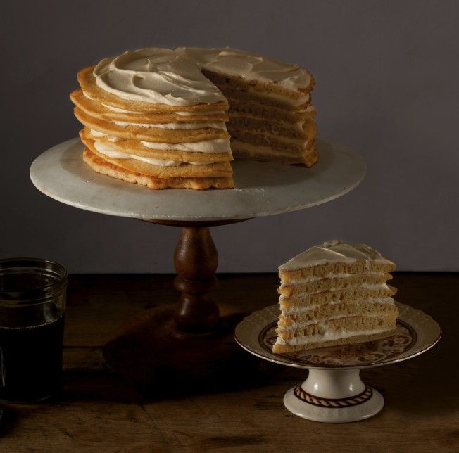 Pancake Cake with Maple Cream Frosting. Breakfast for dessert! Cover recipe from The Beekman 1802 Heirloom Dessert Cookbook