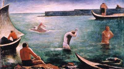 Carlo Carra,  Nuotatori Fine Art Reproduction Oil Painting