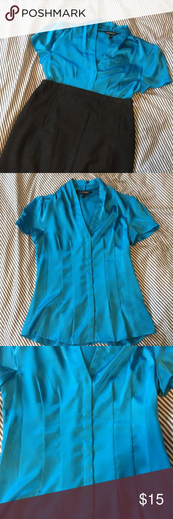 Beautiful blue express small cap sleeve blouse Great blue blouse, with wonderful detailing and slightly puffed sleeves.  Zips on side. Express Tops Blouses