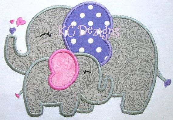 Mommy and Baby Elephant Machine Applique Embroidery by KCDezigns, $3.50